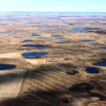 Aerial image of the Prairie Pothole farmland region