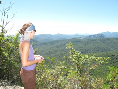 A hiker on Clawhammer Mountain