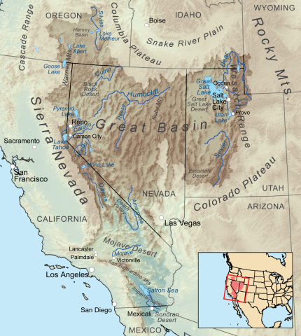 Location of the Great Basin region and Mojave Desert