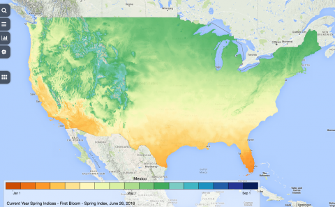 National Phenology Network Gridded Climate Data Visualization map