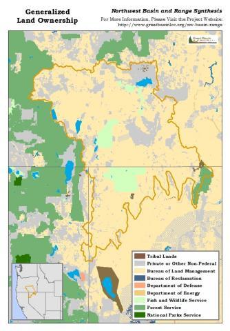Generalized land ownership in the Northwest Basin and Range
