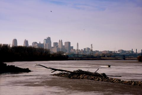 The Missouri River along Kansas City.