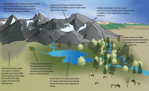 Illustration of examples of the physical basis for geographic locations likely to experience reduced rates of climate change