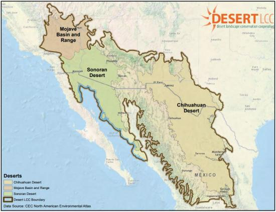 Desert Landscape Conservation Cooperative - Map of deserts in the us